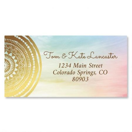 Mandala Expression Foil Border Return Address Labels
