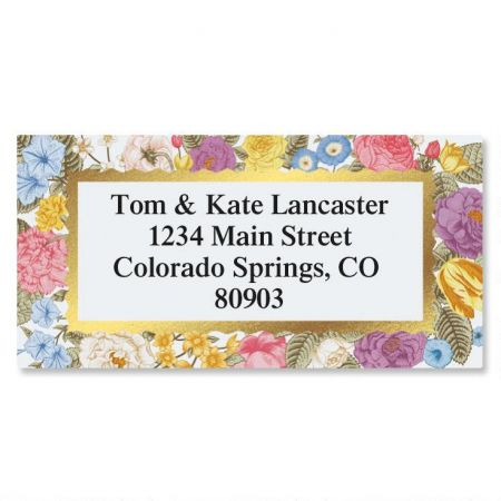 Floral Gold Foil Border Return Address Labels