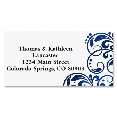Imperial Blue Foil Border Return Address Labels