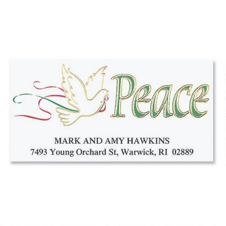 Dove of Peace  Foil Deluxe Address Labels