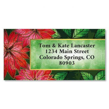 Poinsettia Charm Border Foil Christmas Address Labels