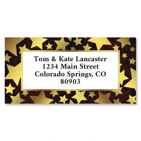 Shiny Stars Foil Border Return Address Labels
