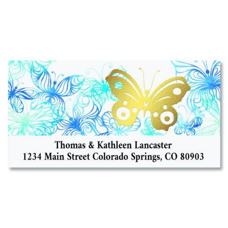 Golden Butterfly Foil Deluxe Address Labels