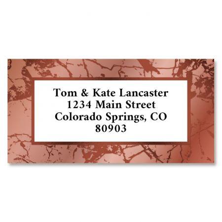 Pink & Copper Marble Foil Border Return Address Labels