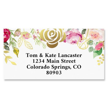 Golden Rose Gold Foil Border Return Address Labels