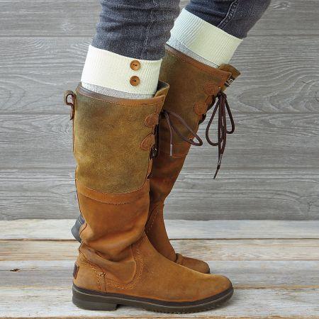 Boot Socks - Ivory Chevron