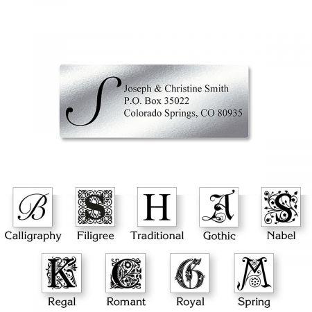 Silver Foil Initial Classic Return Address Labels