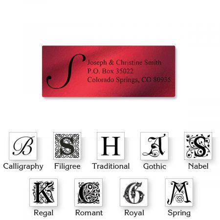 monogram red foil address labels colorful images