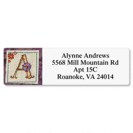 Hand Stitched Initial Classic Return Address Labels