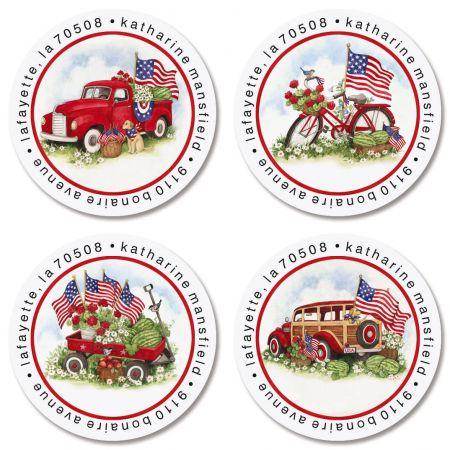 American Heritage Round Return Address Labels (4 Designs)