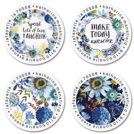 Shades of Blue Round Return Address Labels (4 Designs)