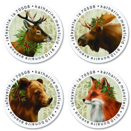 Winter Woodland Round Return Address Labels (4 Designs)