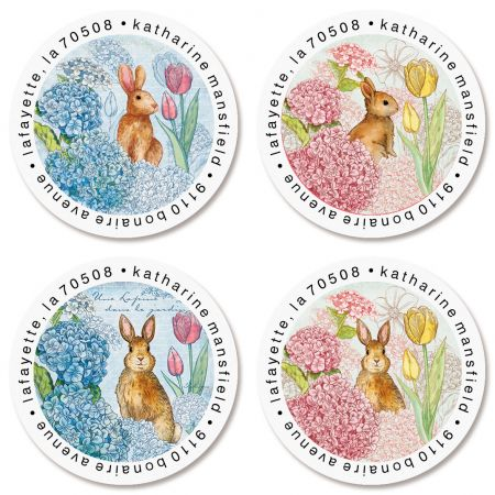 Bunnies in the Garden Round Return Address Labels (4 Designs)