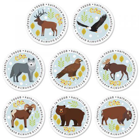 Forest Friends Round Return Address Labels (8 Designs)