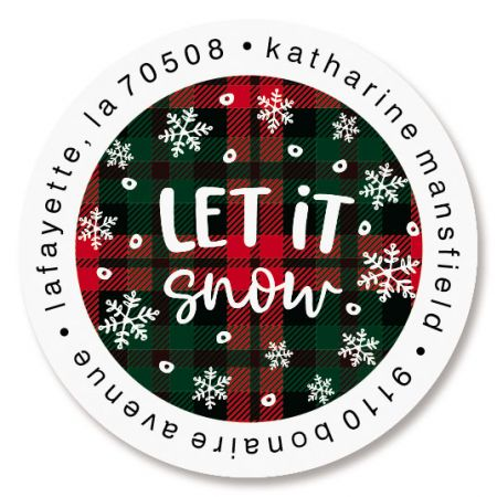 Plaid Let It Snow Round Return Address Labels