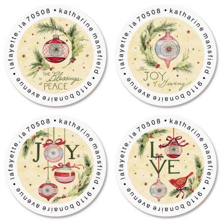 Vintage Ornaments Round Return Address Labels