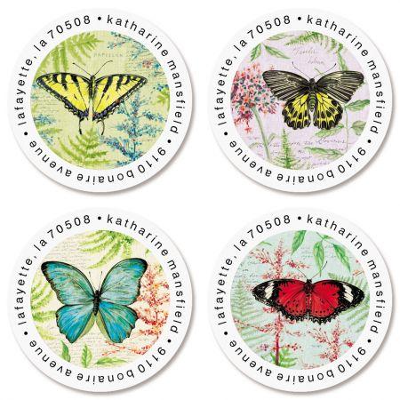 Papillon Round Return Address Labels (6 Designs)