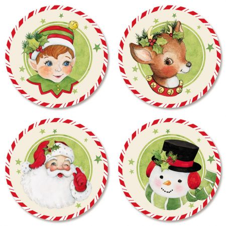 Retro Holiday Seals (4 Designs)