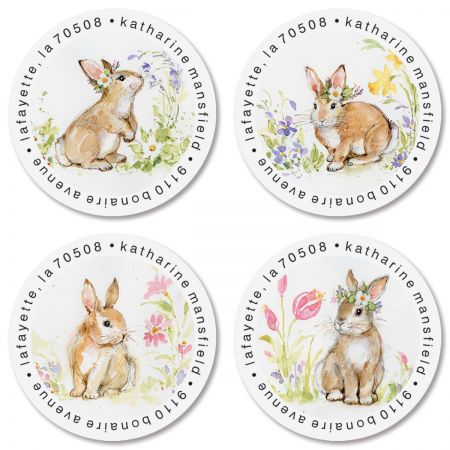 Brown Bunny Round Return Address Labels (4 Designs)