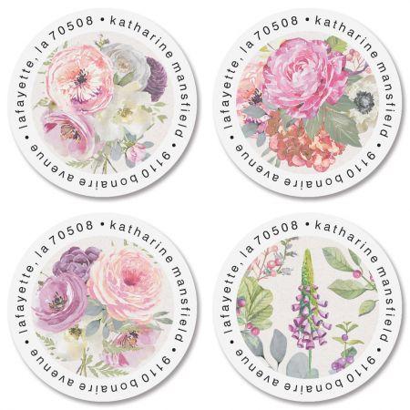 Pink Peony Round Return Address Labels (4 Designs)