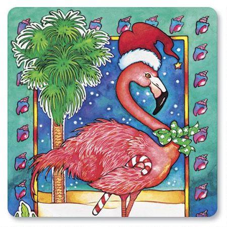 Flamingo Holiday Envelope Seals