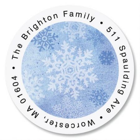 Glistening Snowflake Round Return Address Labels