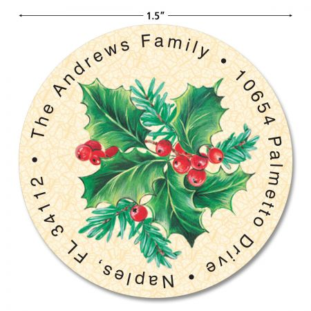 Holly Round Return Address Labels