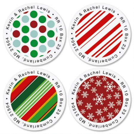 Giftwrapped Round Return Address Labels  (4 Designs)