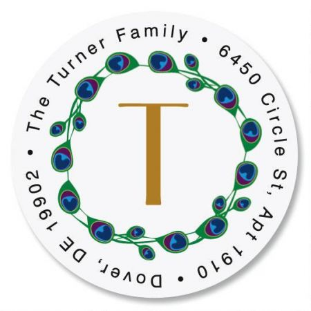 Peacock Luster Initial  Round Return Address Labels