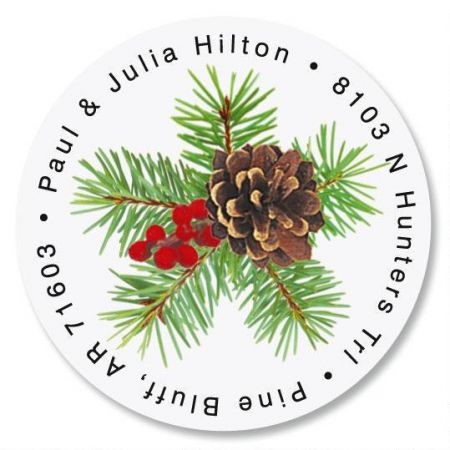 Classic Spruce  Round Christmas Address Labels