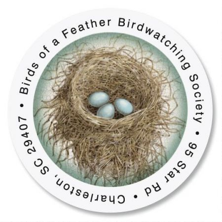 Blue Nest Round Return Address Label