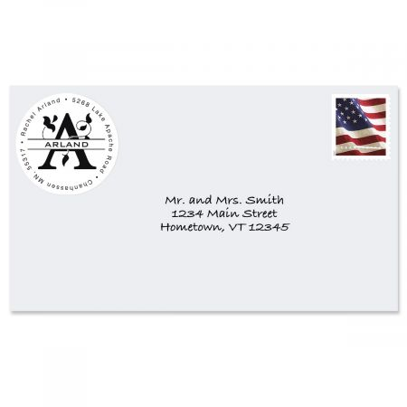 Last Name Initial Round Return Address Label