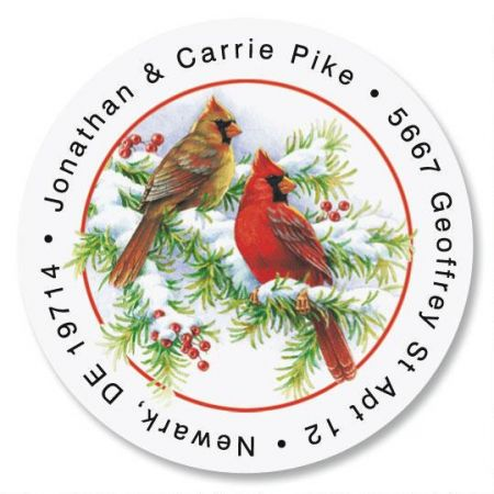 Cardinals Round Christmas Address Labels