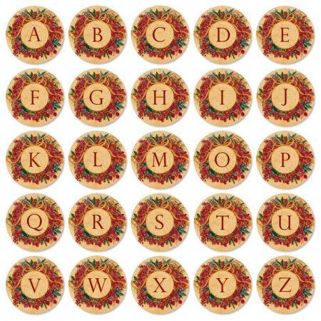 Christmas Initial  Round Return Address Labels