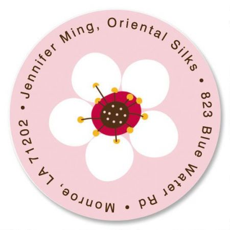 Cherry Blossom Round Return Address Labels