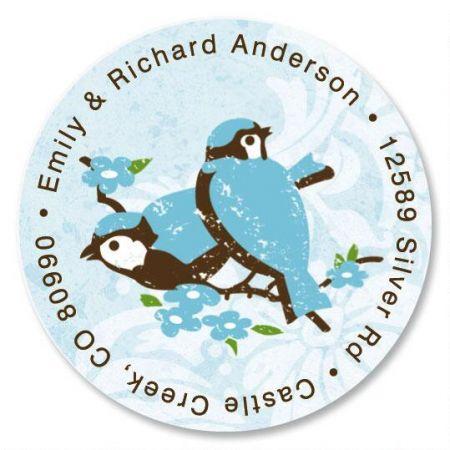 Blue Birds Round Return Address Labels