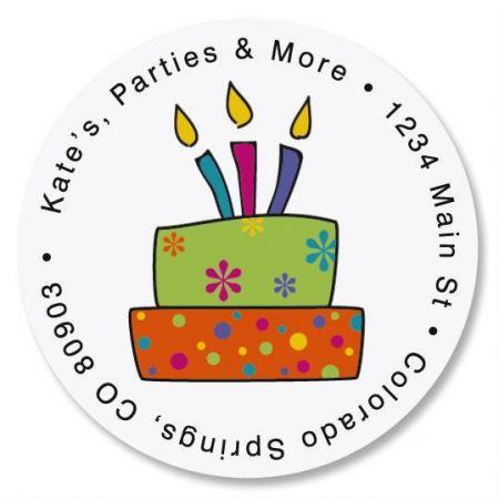 Birthday Cake Round Return Address Labels