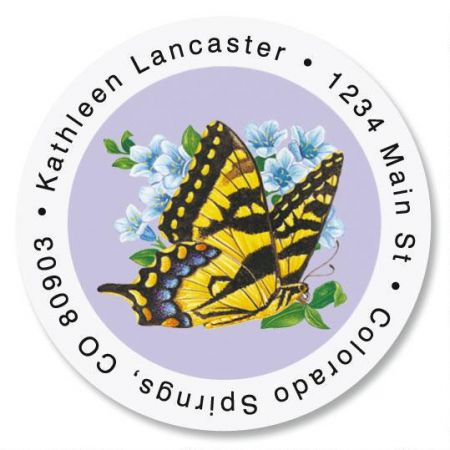 Brilliant Butterflies Round Return Address Labels  (6 Designs)