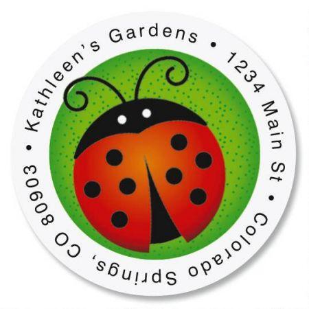 Ladybug Round Address Labels
