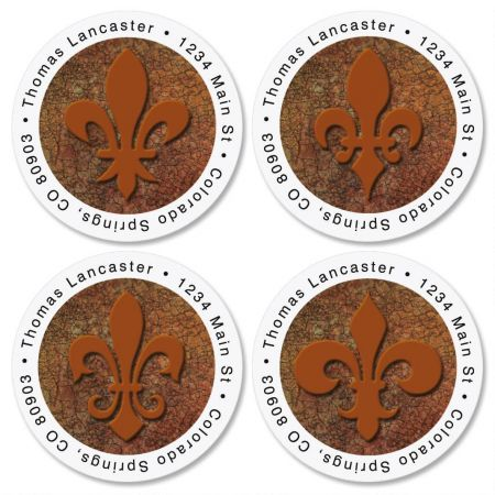 Fleur De Lis Round Return Address Label  (4 Designs)