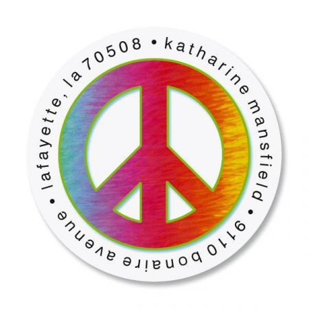 Peace Sign Round Return Address Labels