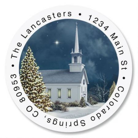 Church at Christmas Round Return Address Labels