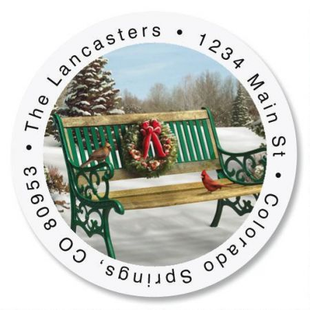 Holiday Bench Round Return Address Labels