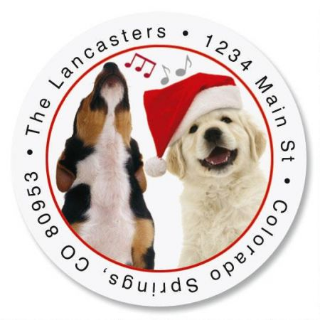 Dogs Singing Round Return Address Labels