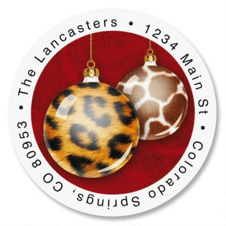 Animal Print Ornaments Round Return Address Labels