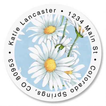 Daisy Collage Round Return Address Labels