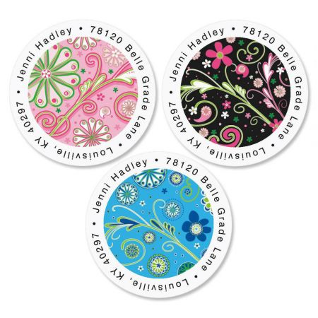 fun patterns round return address labels colorful images