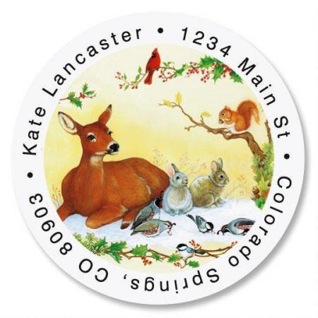 Winter Forest Round Return Address Labels