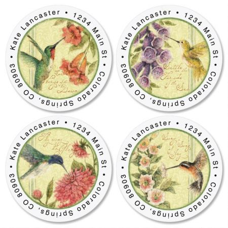 Hummingbird Round Return Address Labels  (4 Designs)