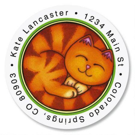 Sew Kitty Round Address Labels